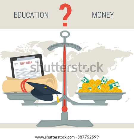 Vector infographic value of education. Scales with diploma education student hat and pile of money. The question - education or money. Flat style concept illustration. Web infographics - stock vector