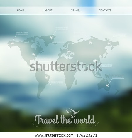 Vector infographic web design on blurred unfocused background. World map with web elements. Travel the world. Web site menu.