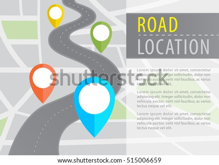 Vector Infographic with a tortuous road from a Perspective city map with markers,pin in a map