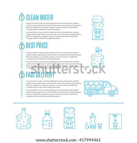 Vector infographic with  line icons and signs for identity for  water delivery service. Clean water, best price, fast delivery.Water bottle, water cooler, water delivery car and place for text.  - stock vector