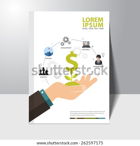 Vector infographics background business success concept book cover design template