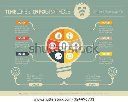 Vector infographics. Business concept with six options, parts, steps or processes. Templates for diagram, graph, presentation and round chart with additions. - stock vector
