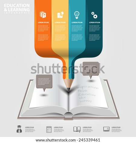 vector infographics education concept open book with colorful pencil - stock vector