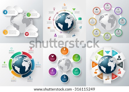 Vector infographics global template set. Can be used for workflow layout, banner, diagram, web design, infographic template. - stock vector