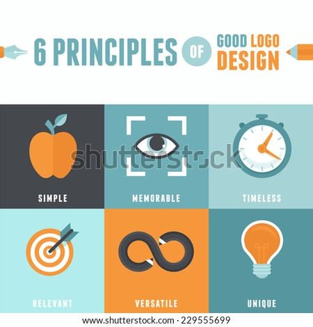 Vector infographics in flat style - 6 principles of good logo design - stock vector