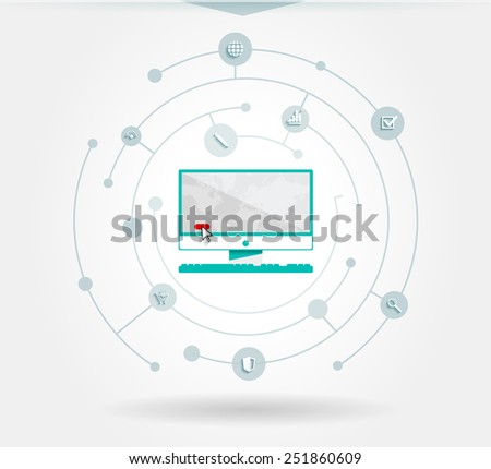 Vector infographics internet elements with a circles and business icons. Elements communicate with one another. Clean, minimalist design. For informational graphs, reports, registration data, websites - stock vector
