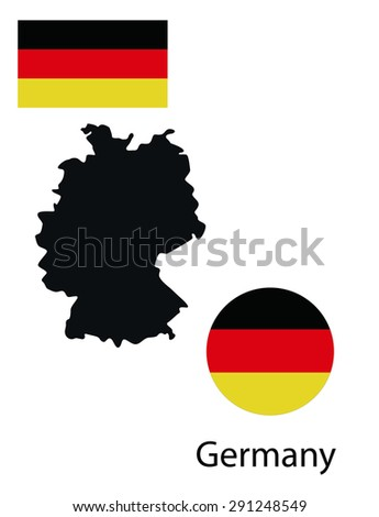 Vector infographics map of Germany. Map, button and flag isolated on white background.