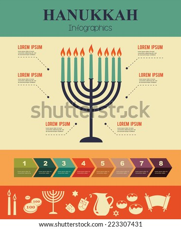 Vector Infographics of famous symbols for the Jewish Holiday  Hanukkah - stock vector