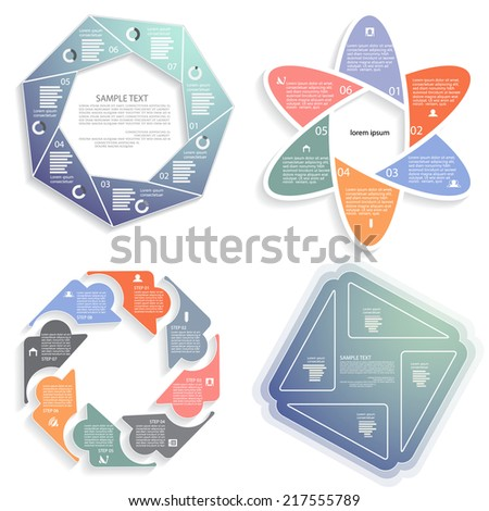 Vector infographics set, business concept with four, six, seven, eight options - stock vector