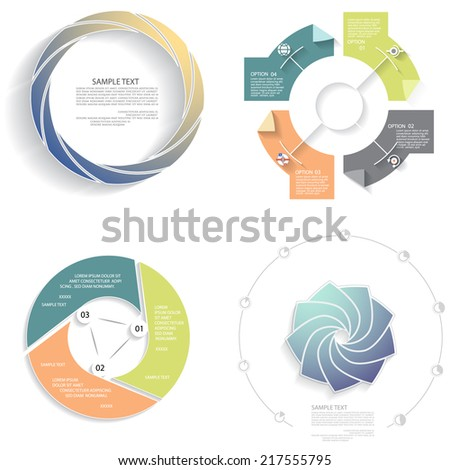 Vector infographics set, business concept with three, four, eigh, nine options - stock vector