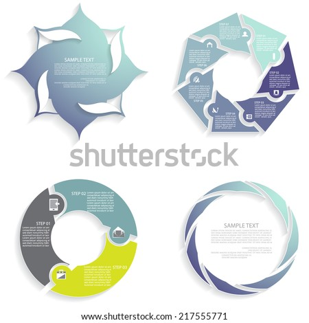 Vector infographics set, business concept with three, four, seven options - stock vector