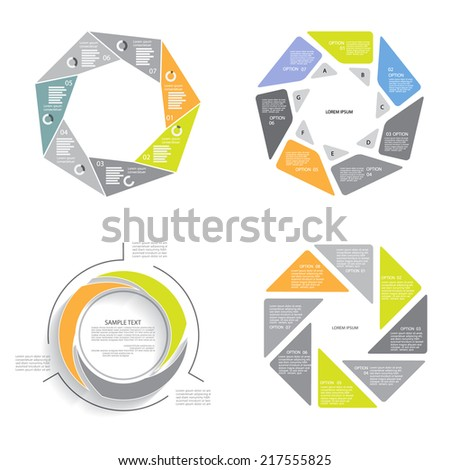 Vector infographics set, business concept with three, seven, eight options - stock vector