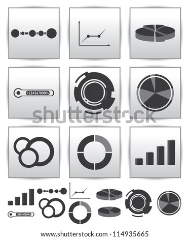 Vector Infographics set icon. Swirl and line graph - stock vector