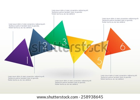 Vector  infographics template with colorful triangles. Graphic design for presentations, banners, brochures, flayers. - stock vector
