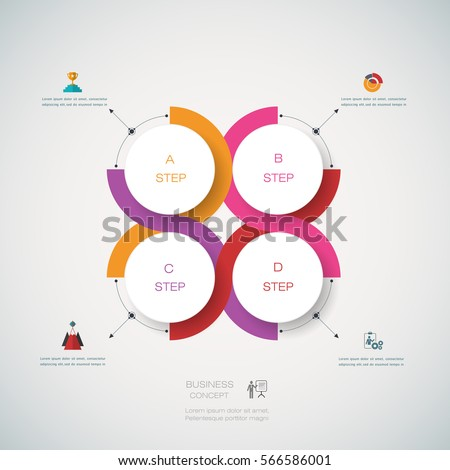 Vector infographics templates with 3D paper label, integrated circles with arrows and lines background. Blank space for content, business, infographic, diagram, infographs, flowchart, process diagram
