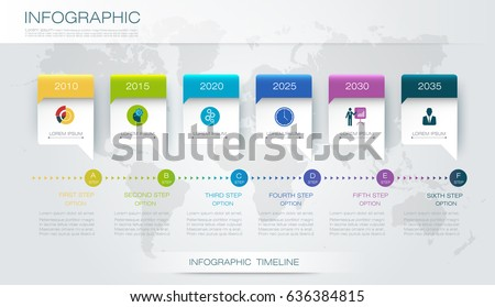 Vector infographics timeline design template with 3D paper label and graph 6 steps options. For workflow layout diagram, infograph business, infographic, flowchart, process diagram, time line, chart