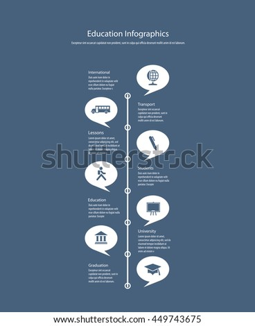 Vector infographics with education icons. - stock vector