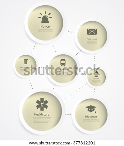 Vector infographics with public service icons. - stock vector