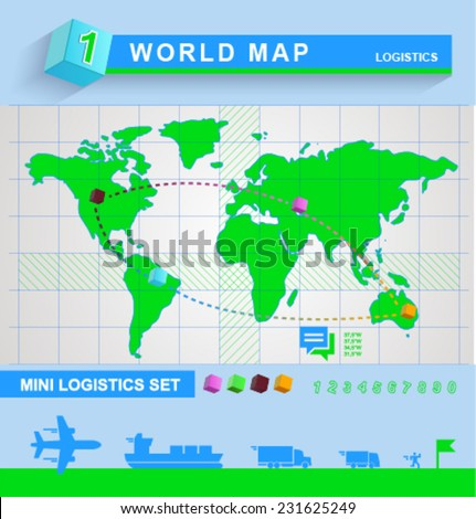 Vector infographics world map logistics - stock vector