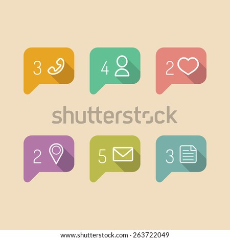 Vector information and notification icons in flat style - stock vector