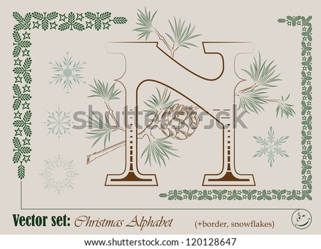 Vector Initials of the English Christmas alphabet for decoration and design