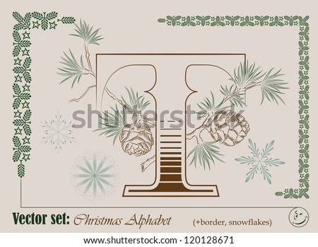 Vector Initials of the English Christmas alphabet for decoration and design - stock vector