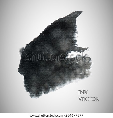 Vector ink and wash spatter background - stock vector