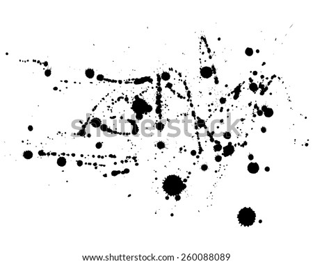 Vector Ink blot splatters collection, black spot isolated on white background. Grunge stain abstract elements for design use. Freehand drawing. - stock vector