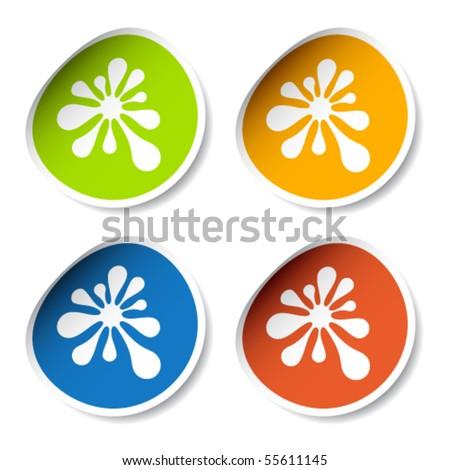 vector ink blot stickers - stock vector
