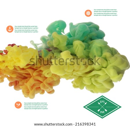Vector ink cloud swirling in water. Isolated cloud of orange,green and yellow ink on white. Splashes of paint in water on white background. Texture of ink - stock vector