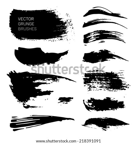 vector ink different brush strokes set - stock vector