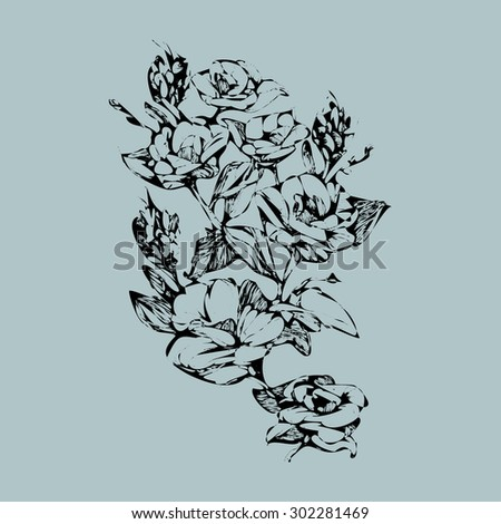 Vector ink illustration, hand graphics - flowers