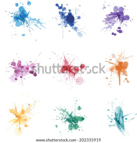 Vector ink paint splat colors set collection - stock vector