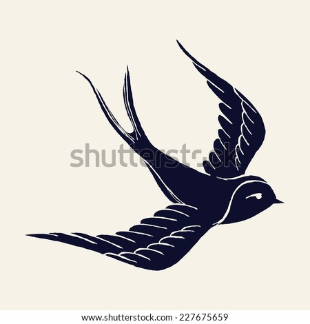 Vector ink pen hand drawn flying swallow silhouette illustration with vintage feel | Flying swallow tattoo - stock vector