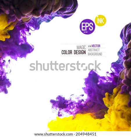 Vector Ink swirling in water, cloud of ink in water isolated on white. Abstract banner paints. Holi. Liquid cloud. Purple background for banner, card, poster,  label or web design. Abstract corner. - stock vector