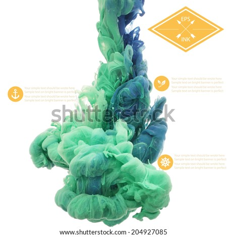 Vector ink swirling in water. Isolated cloud of blue and green ink on white. Template design for banner. Paint in water on white background. Splashes of paint. Texture of ink, paint in water - stock vector