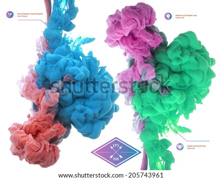 Vector ink swirling in water. Isolated cloud of pink and green ink on white. Template design for infographics. Paint in water on white background. Splashes of paint. Texture of ink, paint in water - stock vector