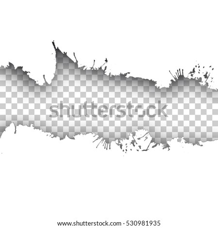 Vector ink transparent tape on white background with realistic shadow. Ink blot artistic tape. Easy editable.