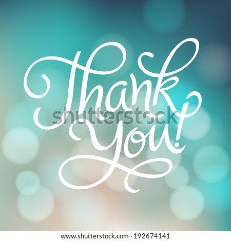 "Vector inscription with ornamental elements on defocus background.  ""Thank You!"" poster or greeting card - stock vector"