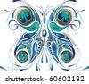 Vector insect peacock butterfly illustration. Glamour style. Isolated on white - stock vector