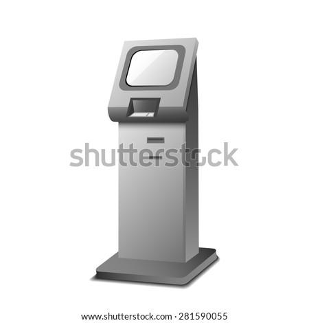 Vector Interactive Information Kiosk Terminal Stand Screen Display  - stock vector