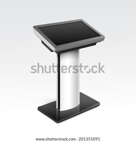 Vector Interactive Information Kiosk Terminal Stand Screen Display Console Infokiosk - stock vector