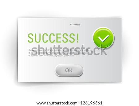 Vector interface dialog box with glossy icon - Success - stock vector