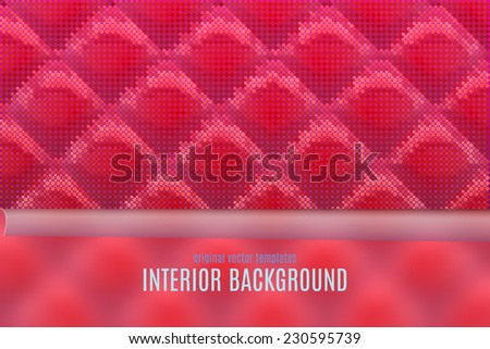 vector interior background with red glossy soft wall texture