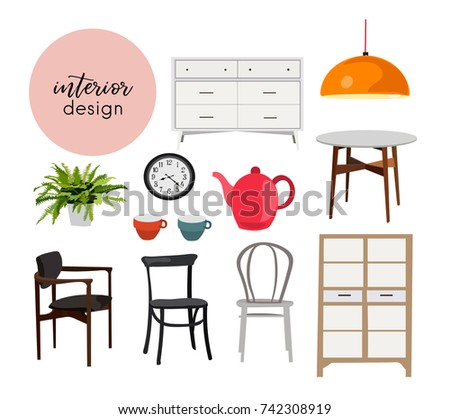 Set cute furniture vector illustration stock vector for Interior design 7 elements