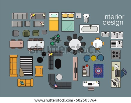 Vector Interior Design Floor Plan. Home House Top View. Collection Set  Elements. In
