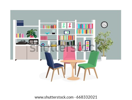 Vector Interior Design Home Illustration Dining Room Living Library