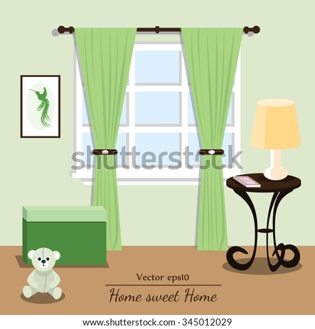 Vector interior house. Green room. Format eps10. - stock vector