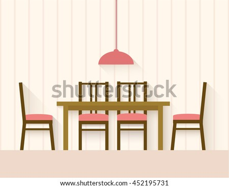 Vector Interior Of A Dining Room Flat Design Illustration