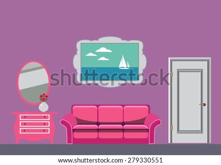 vector interior of  living room - stock vector
